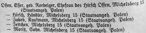 Offen, Hirsch, Jakob, Jette Ester