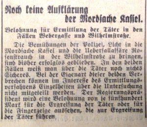 Mord Max Kassel, Webergasse 46 Wiesbaden, SA Mord
