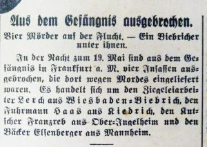 Max Kassel, Mord, Flucht Franzreb, SA Wiesbaden
