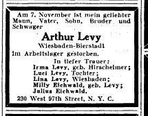 Arthur Levy, Bierstadt Juden, Hallgarter Str. 6, Judenhaus Wiesbaden